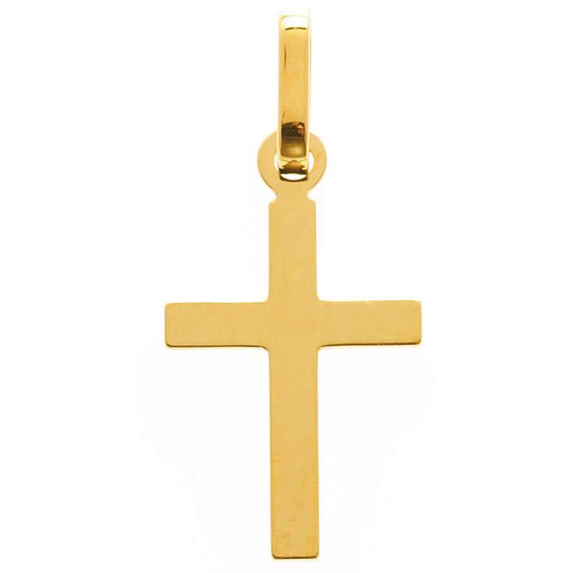 Photo de Croix plate lisse personnalisée - Or jaune 9ct