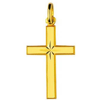 Photo de Croix étoilée personnalisée  - Or jaune 18ct