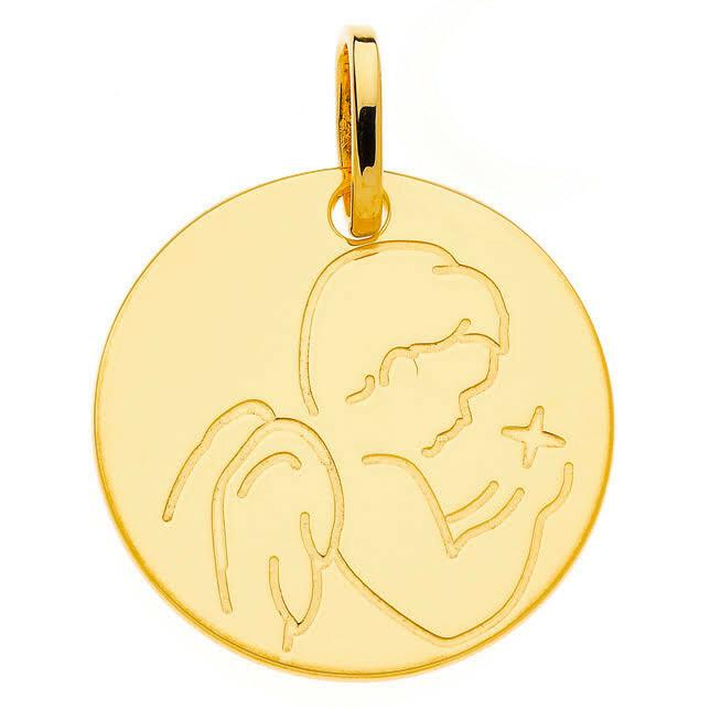 Photo de Médaille Angelot à l'étoile - Or jaune 9ct