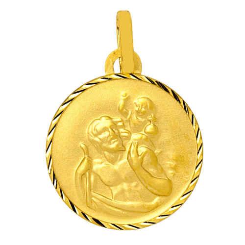 Photo de Médaille Saint- Christophe ronde diamantée - Or jaune 9ct