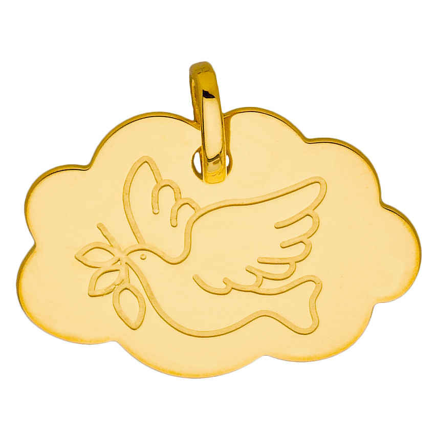 Photo de Médaille nuage colombe - Or jaune 9ct