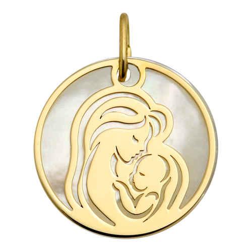 Photo de Médaille Vierge à l'enfant ajourée - Or jaune 18ct & nacre
