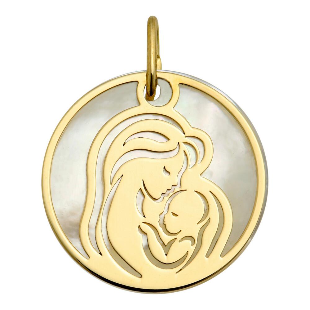Photo de Médaille Vierge à l'enfant ajourée - Or jaune 9ct & nacre