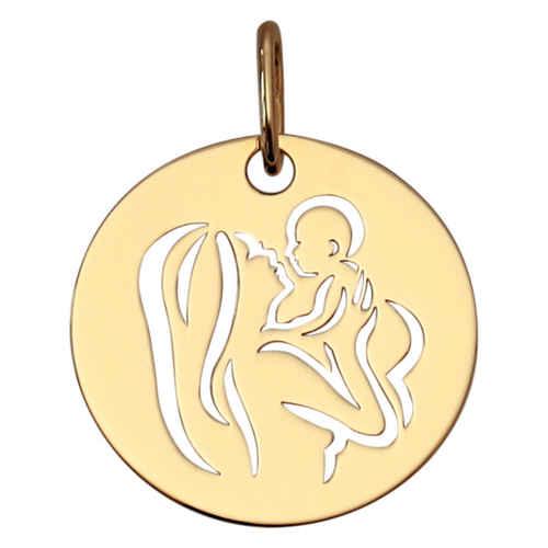 Photo de Médaille Vierge amour maternel ajourée - Or jaune 9ct