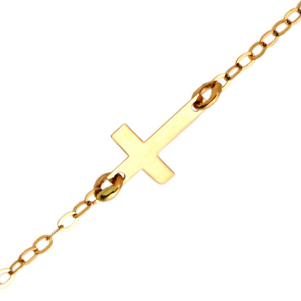 Photo de Bracelet enfant croix - Or jaune 18ct