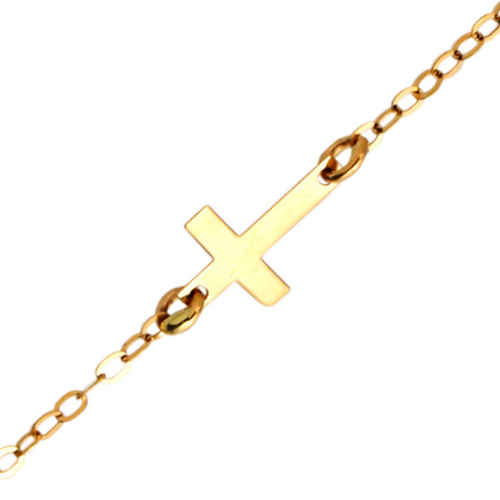 Photo de Bracelet enfant croix - Or jaune 9ct
