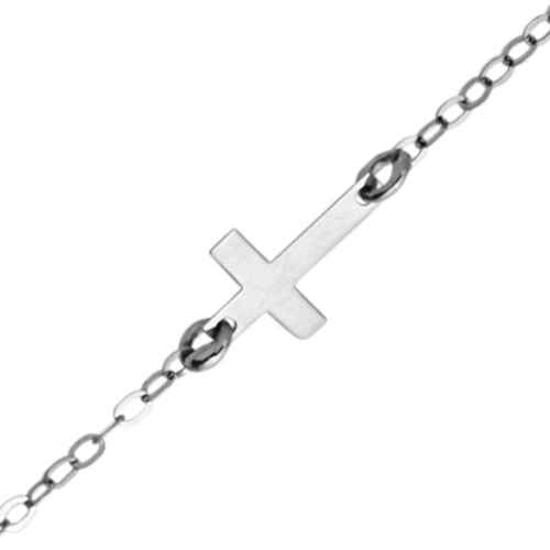 Photo de Bracelet enfant croix - Or blanc 9ct