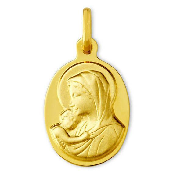 Photo de Médaille Vierge à l'enfant protectrice - Or jaune 9ct