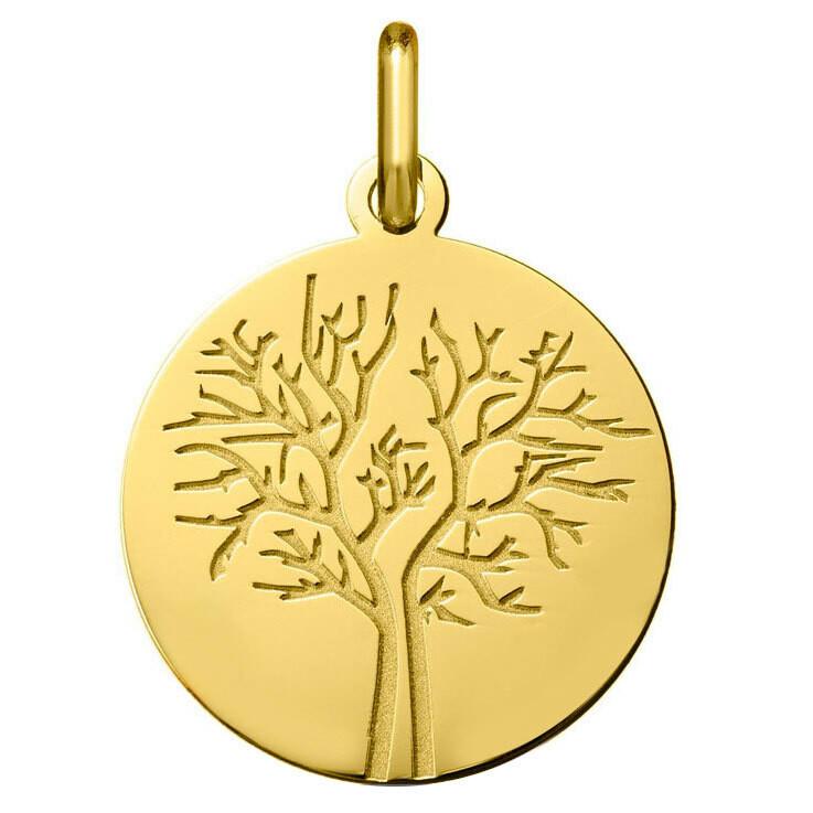 Photo de Médaille Arbre de vie - saison hiver - Or jaune 18ct