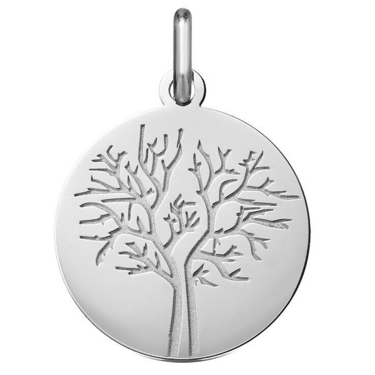 Photo de Médaille Arbre de vie - saison hiver - Or blanc 18ct