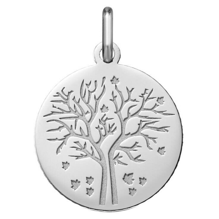 Photo de Médaille Arbre de vie - saison automne - Or blanc 18ct