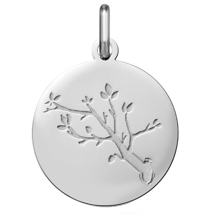 Photo de Médaille branche de cerisier - Or blanc 18ct