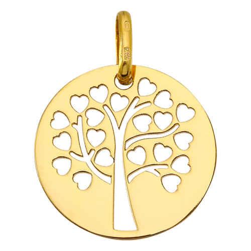 Photo de Médaille Arbre de vie ajourée aux coeurs - Or jaune 9ct