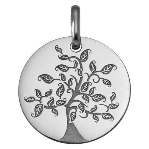 Photo de Médaille Arbre de vie virevoltant - Or blanc 9ct