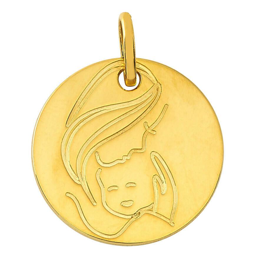 Photo de Médaille Vierge à l'enfant réconfort - Or jaune 9ct