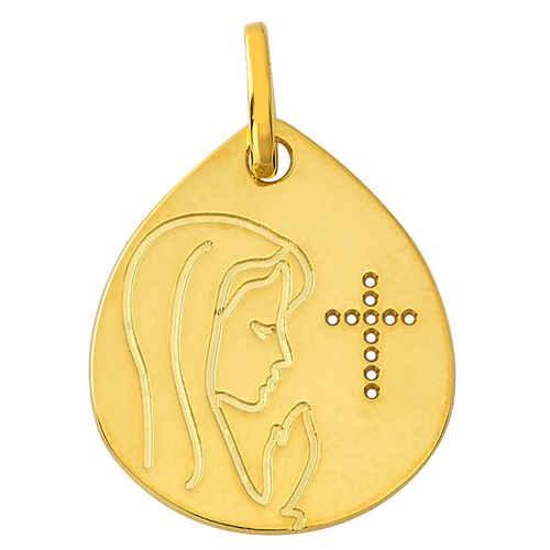 Photo de Médaille Vierge à la croix ajourée - Or jaune 9ct
