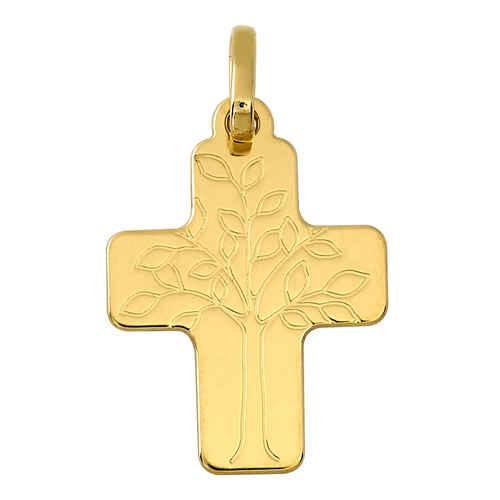Photo de Croix arbre de vie personnalisée - Or jaune 18ct
