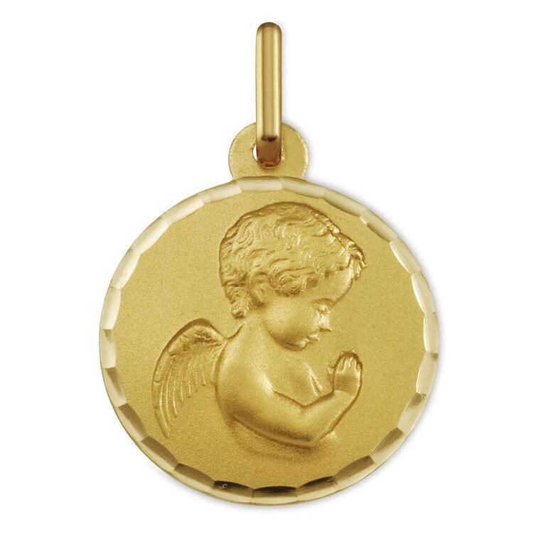Photo de Médaille Ange en prière ciselée - Or jaune 18ct