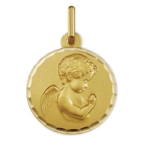 Photo de Médaille Ange en prière ciselée - Or jaune 9ct