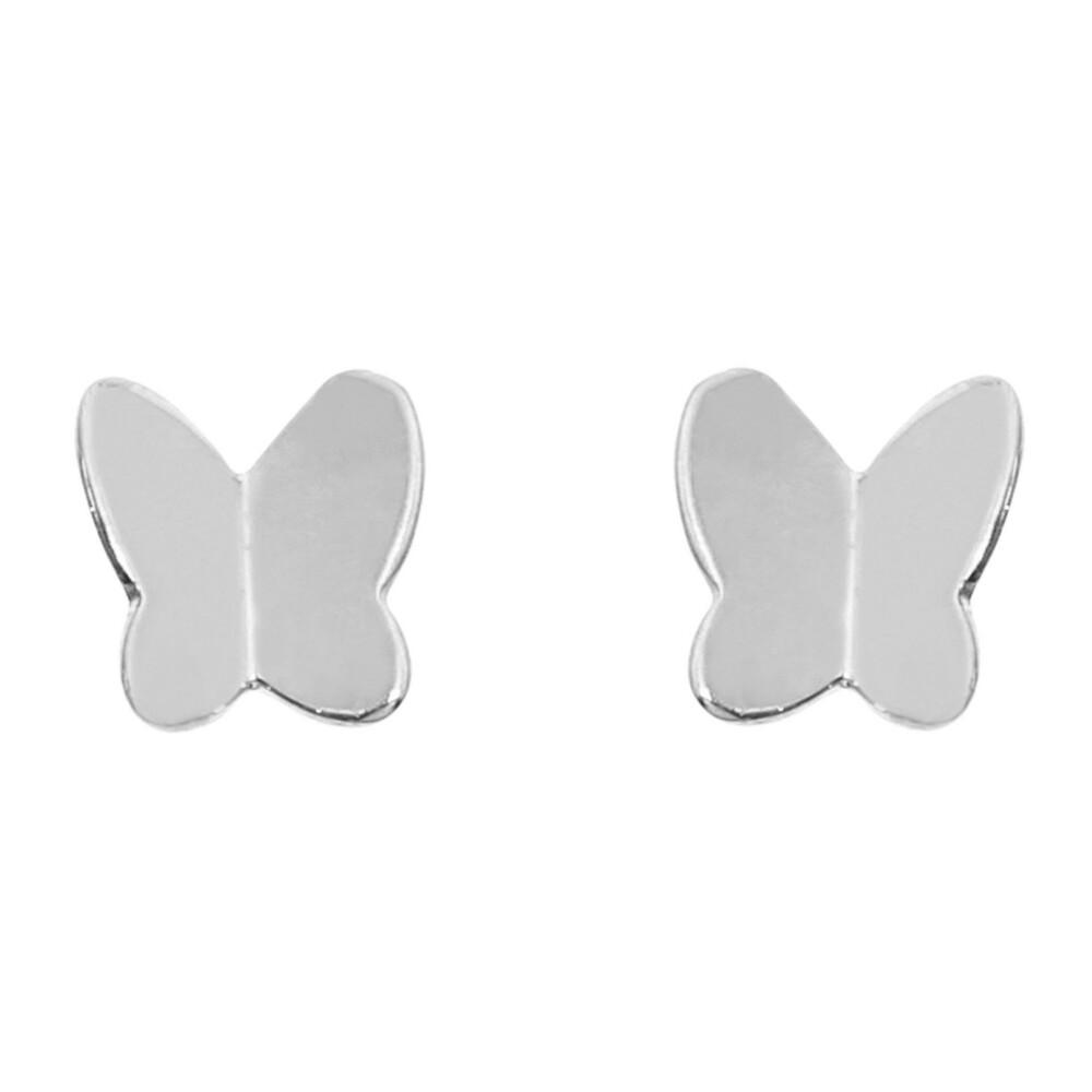 Photo de Boucles d'oreilles papillons - Puces - Or blanc 9ct