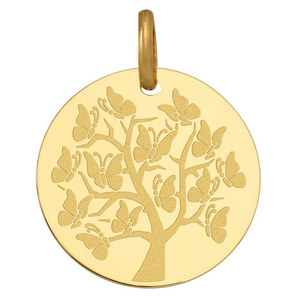 Photo de Médaille Arbre de vie aux papillons - Or jaune 9ct