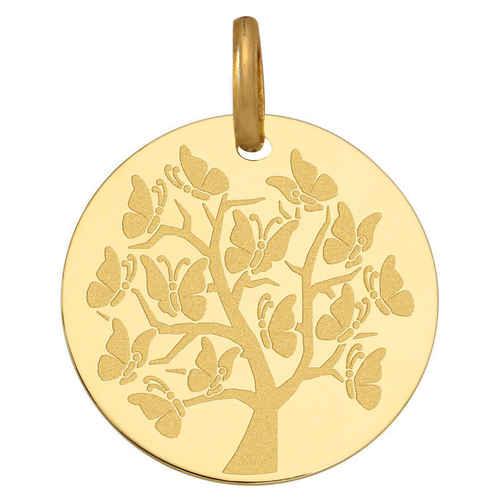 Photo de Médaille Arbre de vie aux papillons - Or jaune 9ct