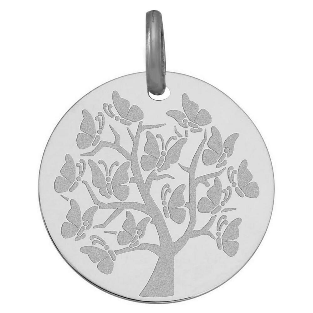 Photo de Médaille Arbre de vie aux papillons - Or blanc 9ct