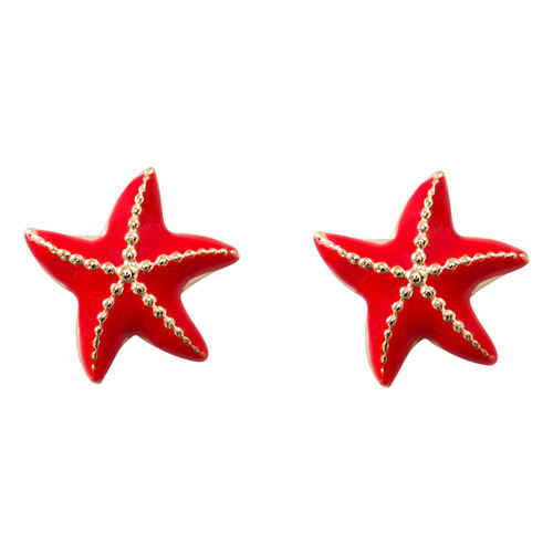 Photo de Boucles d'oreilles étoiles de mer rouge - Vis - Or jaune 9ct