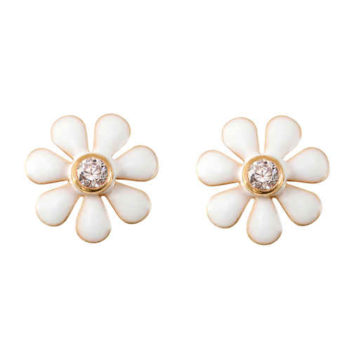 Photo de Boucles d'oreilles marguerite - Vis - Or jaune 9ct
