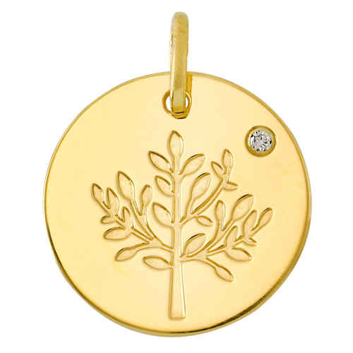 Photo de Médaille Arbre de vie brillant LuluCastagnette - diamant & or jaune 9ct