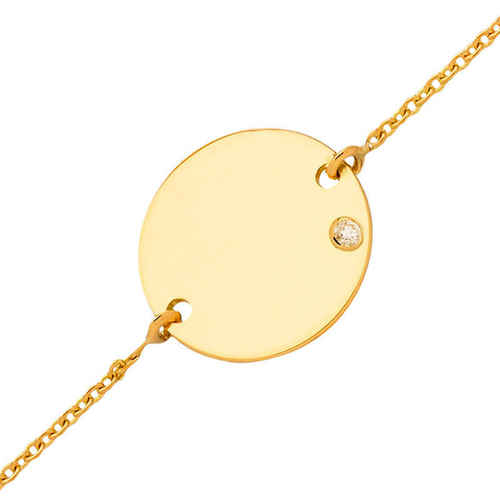 Photo de Gourmette enfant médaille - diamant & or jaune 18ct