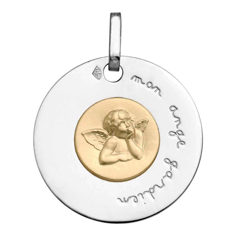 Photo de Médaille disque Ange Raphaël - Or blanc et jaune 9ct