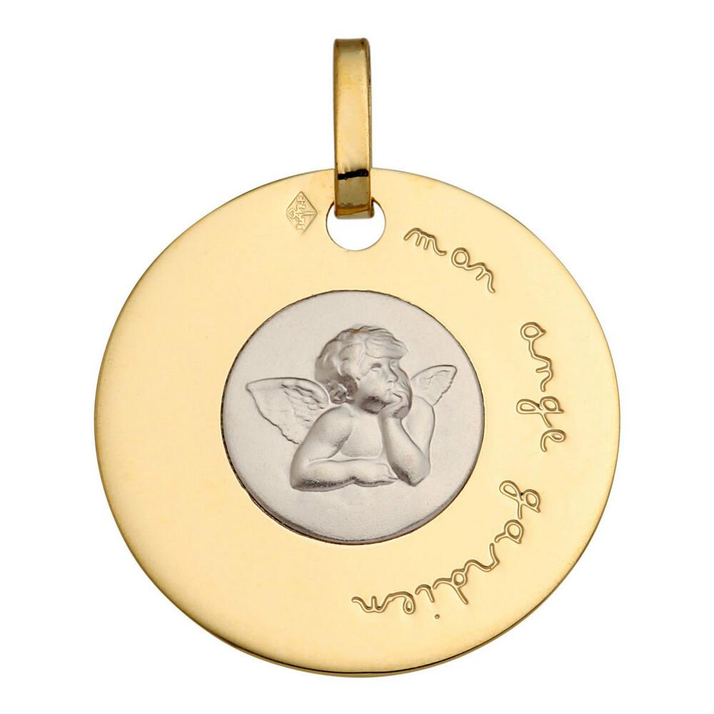 Photo de Médaille disque Ange Raphaël - Or jaune et blanc 18ct