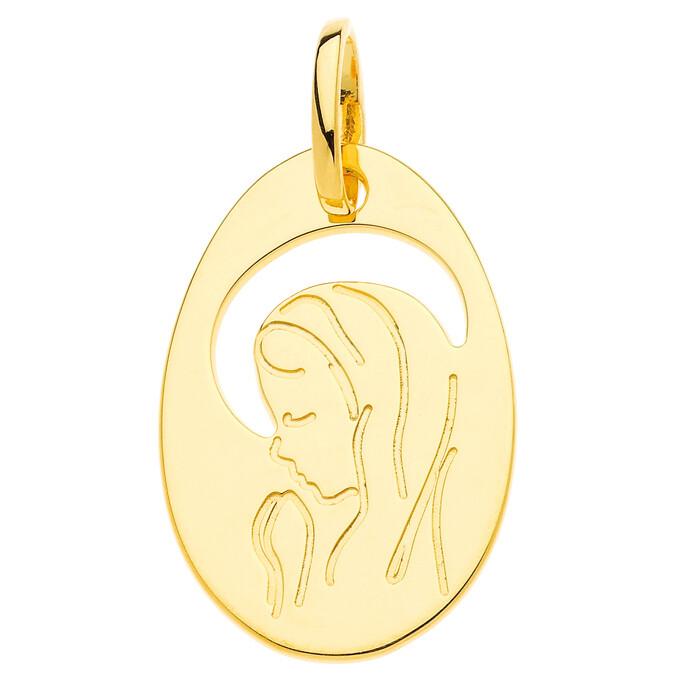 Photo de Médaille Vierge ajourée - Or jaune 9ct