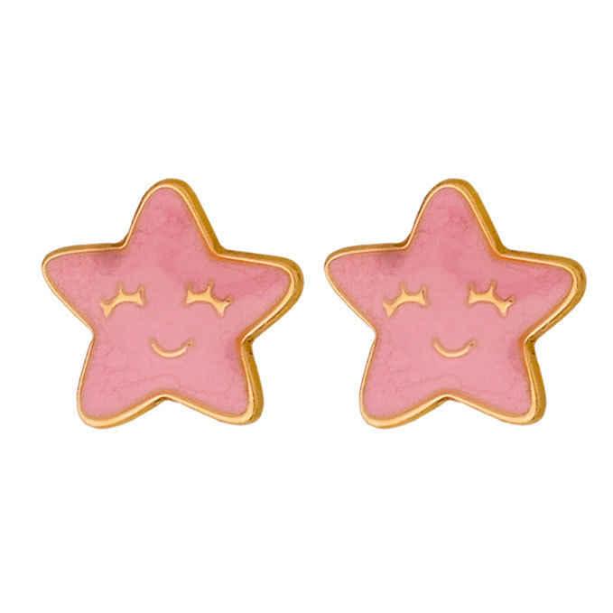 Photo de Boucles d'oreilles étoiles - puces - Or jaune 18ct