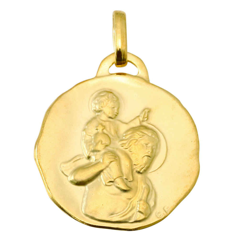 Photo de Médaille Saint- Christophe ronde diamantée - Or jaune 9ct