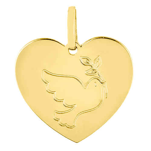 Photo de Pendentif coeur colombe au rameau - Or jaune 18ct