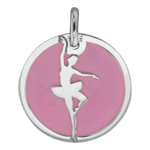 Photo de Médaille danseuse rose - Or blanc 18ct & acier