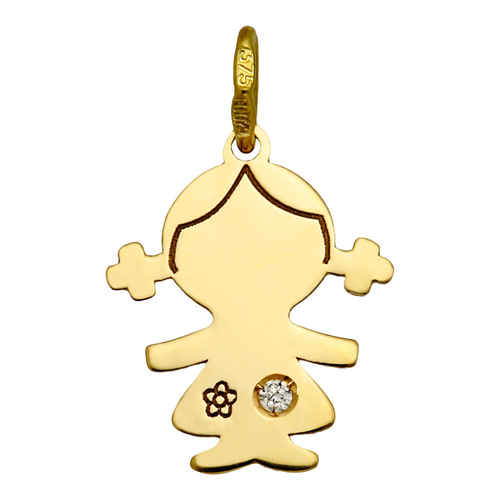 Photo de Pendentif petite fille - diamant & or jaune 9ct
