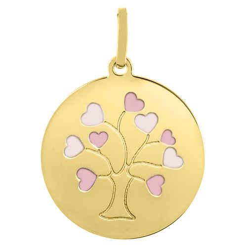 Photo de Médaille Arbre de vie laqué - Or jaune 18ct
