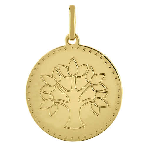 Photo de Médaille Arbre de vie graphique - Or jaune 18ct