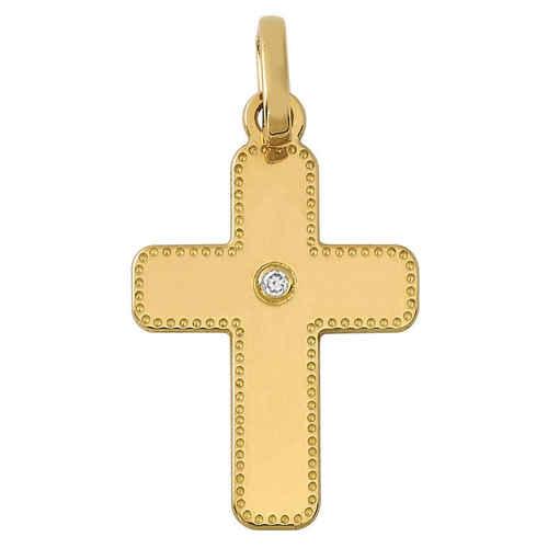 Photo de Croix perlée personnalisée - diamant & or jaune 18ct