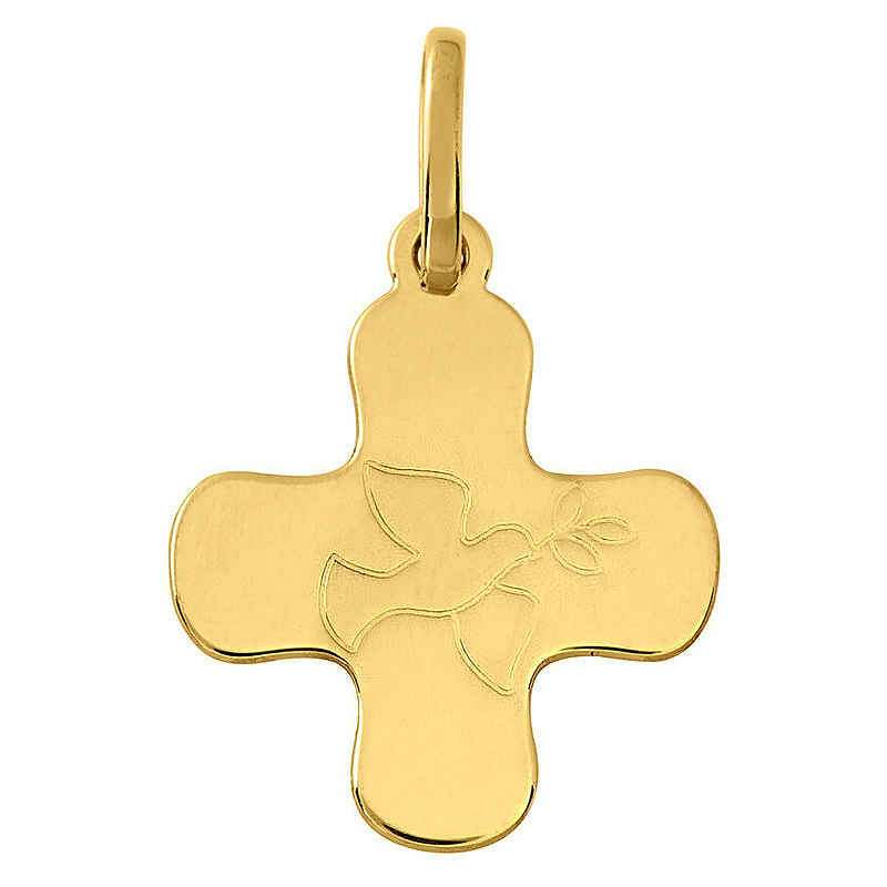 Photo de Croix à la colombe personnalisée - Or jaune 18ct
