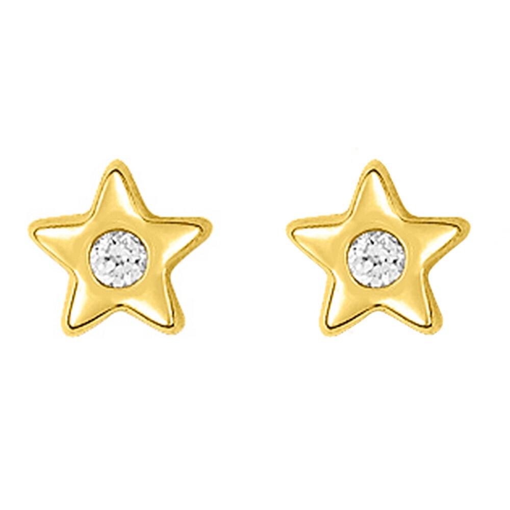 Photo de Boucles d'oreilles étoiles zirconum - Puces - Or jaune 9ct