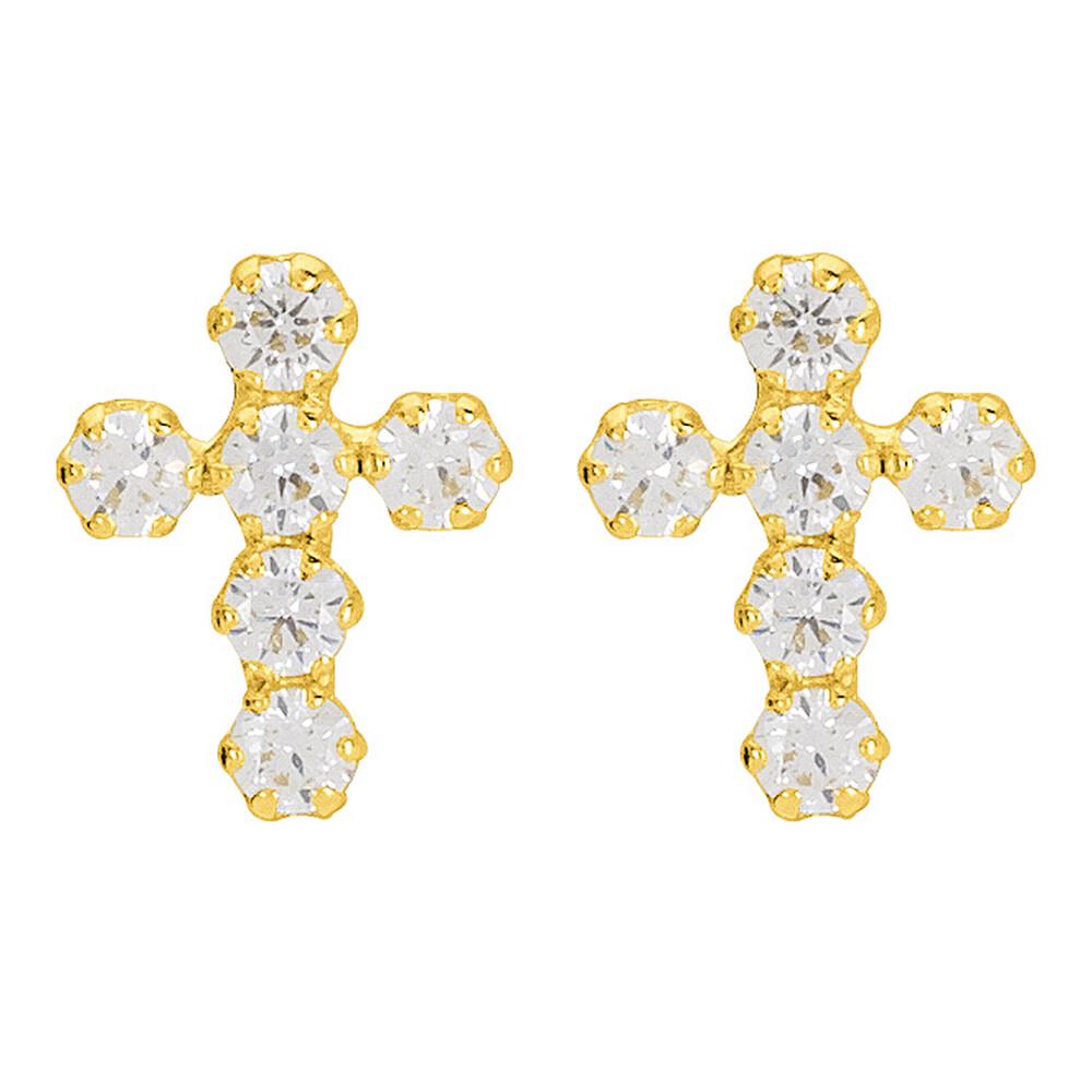 Photo de Boucles d'oreilles Croix - Puce - - Or jaune 9 carats