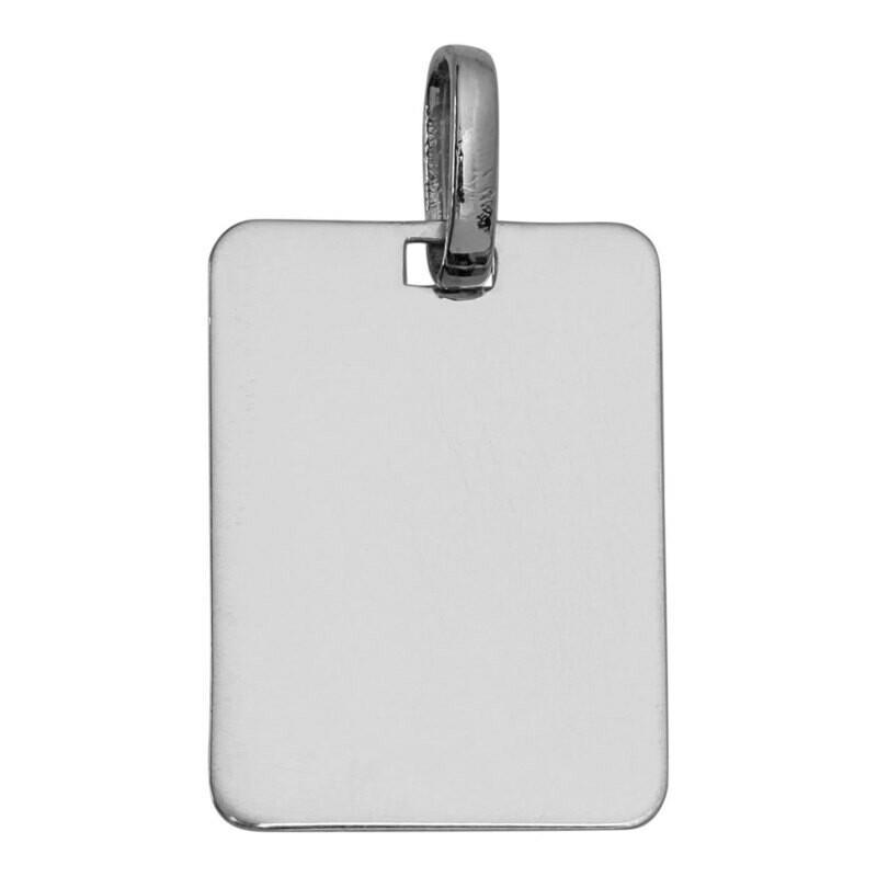 Photo de Pendentif plaque rectangle - Or blanc 9ct