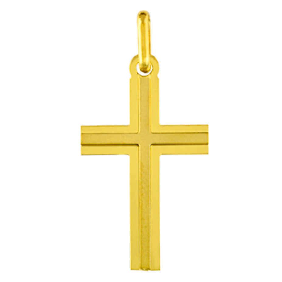 Photo de Croix lisse satinée personnalisée - Or jaune 18ct
