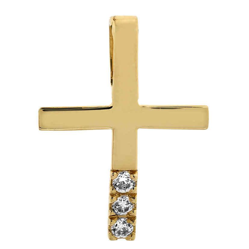 Photo de Croix aux 3 diamants - Or jaune 18ct