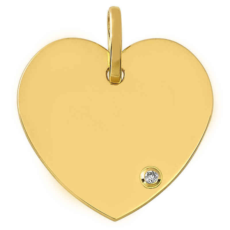 Photo de Pendentif Coeur - diamant & or jaune 18ct
