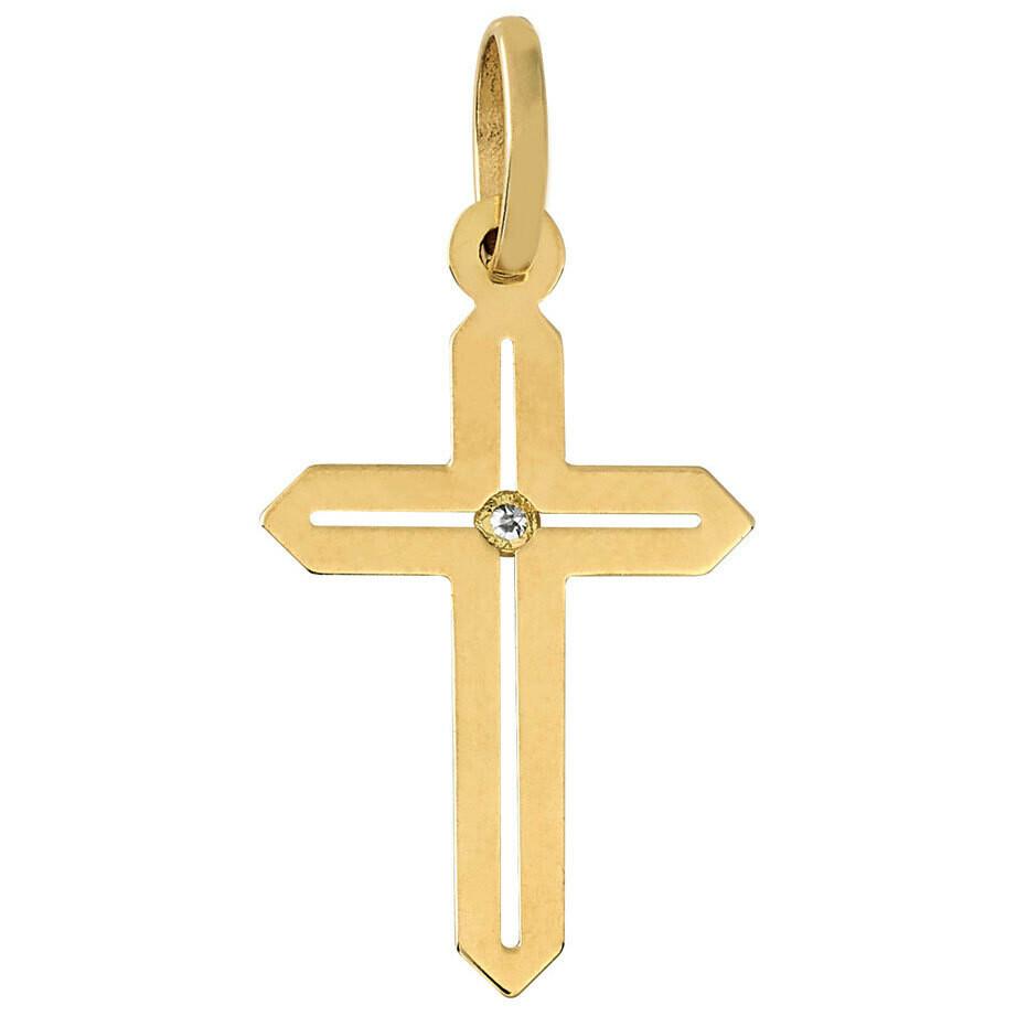 Photo de Croix ajourée - diamant & or jaune 18ct